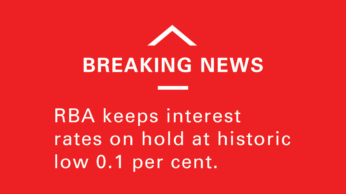 The Reserve Bank of Australia leaves cash rate unchanged at 0.10%.  #RBA https://t.co/XCpq4ImQjQ