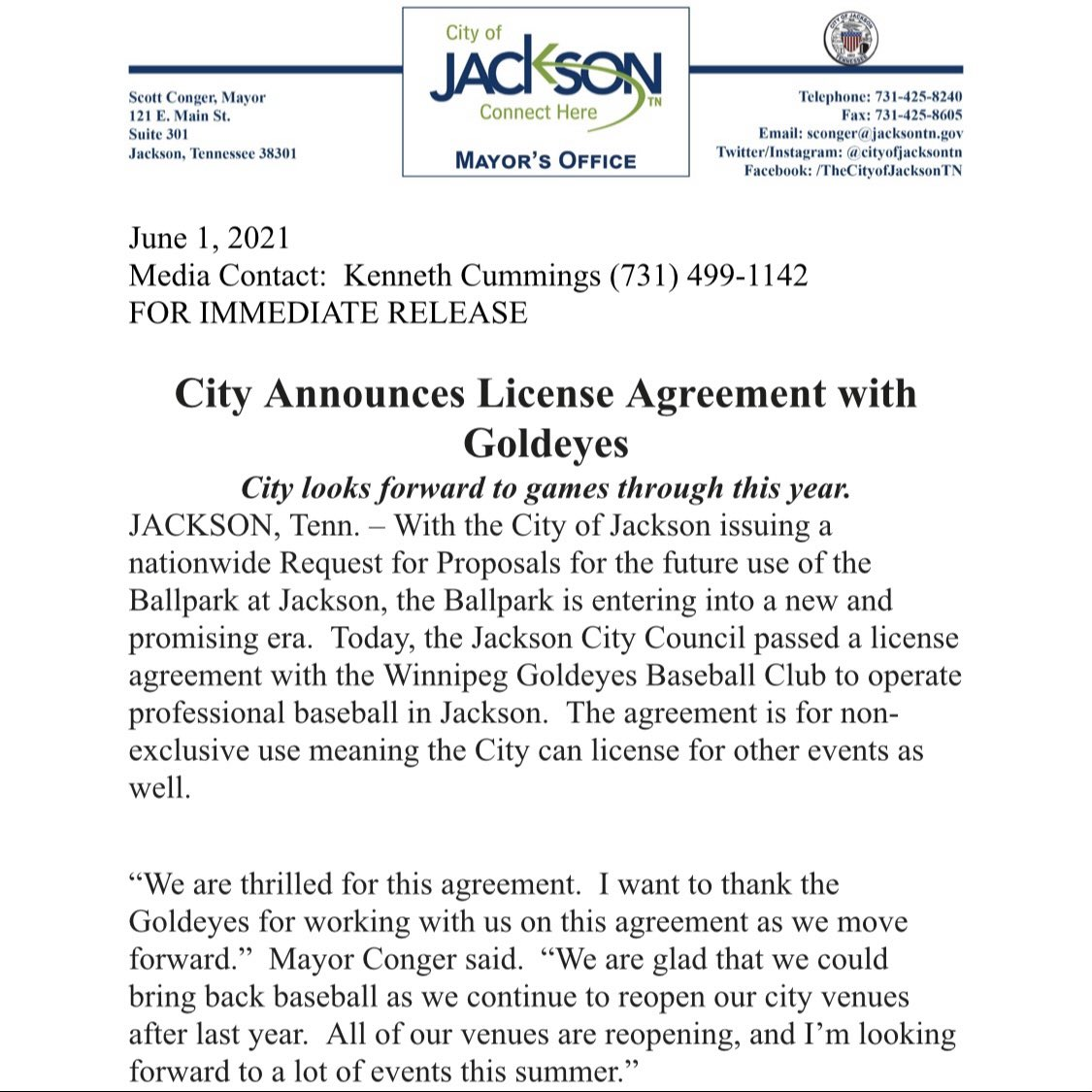 Jackson City Council approves an agreement to bring back professional baseball to Jackson for 2021