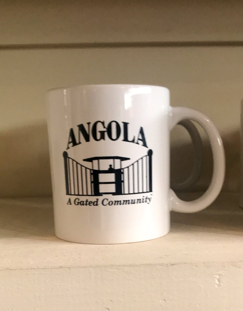 I traveled to Angola prison, the largest maximum security prison in the country and a place where incarcerated people continue to work for virtually no pay on land that was once a plantation. A prison that has a gift shop where where people can purchase coffee mugs like this...
