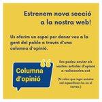 Image for the Tweet beginning: 📣 Columna d'opinió a la