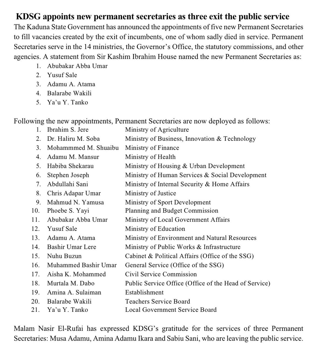 KDSG has appointed five new Permanent Secretaries and announced new deployments for these senior officials: 1.Abubakar Abba Umar 2.Yusuf Sale 3.Adamu A. Atama 4.Balarabe Wakili 5.Ya'u Y. Tanko