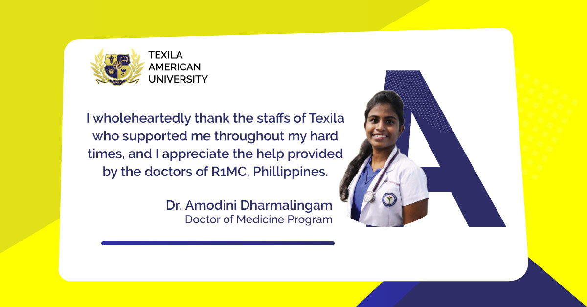 Dr. Amodini Dharmalingam, our beneficiary from the Doctor of Medicine program, shares her experience studying at an international university! To know more: https://t.co/9Sc5Gk4kpn  #Medicine #MDProgram #Guyana #StudyMedicine #DoctorDream #TexilaAmericanUniversity https://t.co/eIdCzNtisz