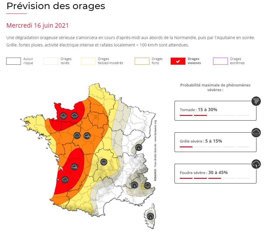 Des #orages parfois violents sont attendus cet après-midi, ce soir et nuit prochaine dans l'ouest, notamment en #Normandie et en #Aquitaine :
