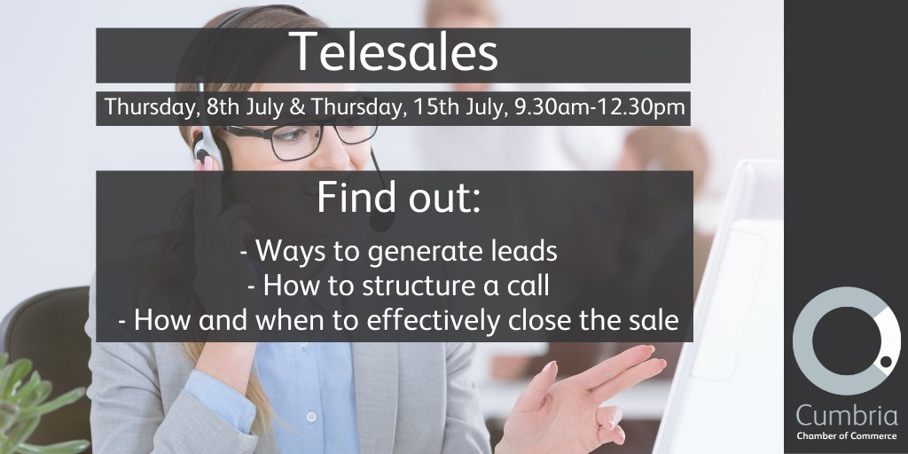 test Twitter Media - 78% of decision-makers report having arranged an appointment or attending an event as a result of a cold call or email. Are your telesales skills on point? Join Cumbria Chamber with Justine Douglas of CTS for a 2-session workshop starting 8th July. https://t.co/U3KJM3M4bt https://t.co/7jsiwTE56b