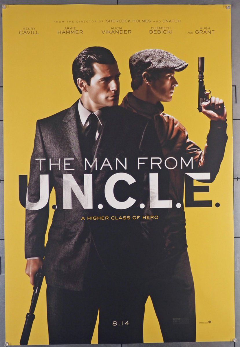 2015's The Man From #UNCLE, was a reboot of a popular spy show from the 1960s. Henry Cavill and Armie Hammer played the leads in this tongue in cheek and largely successful retread from #Madonna ex, Guy Ritchie. Original rolled 2-sided #movieposter, $35., https://t.co/Cyfvo1GqgK https://t.co/2e5h2pRwxA