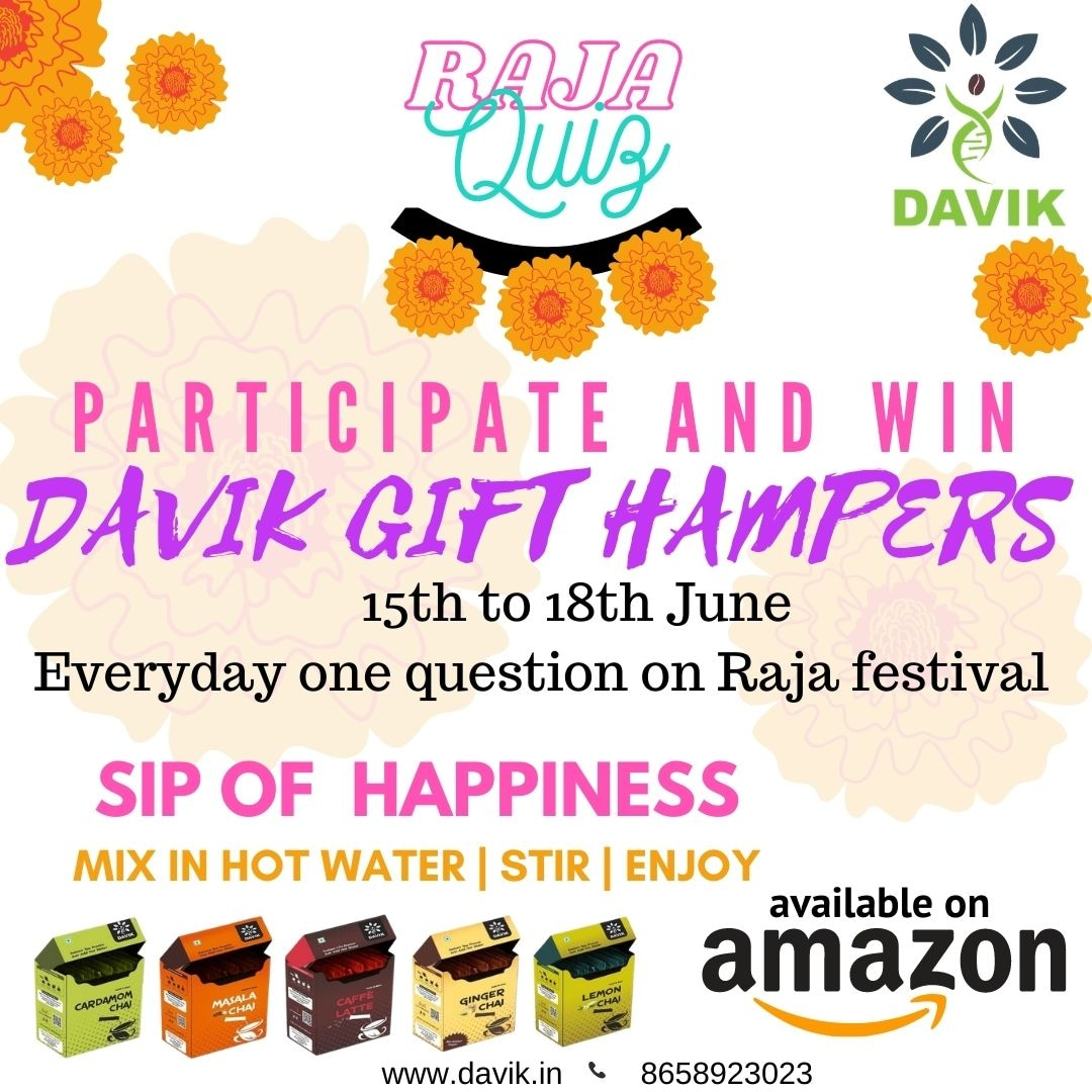 CONTEST ALERT! This Raja, Davik presents you a chance to win exciting gifts hampers and discounts! All you need to do is participate in the 3 day quiz, from 15th to 18th June.  We hope YOU be the one to win the hamper.  #happyraja #davik #thedavikexperience #contest #gifts https://t.co/WmiQanMMYW
