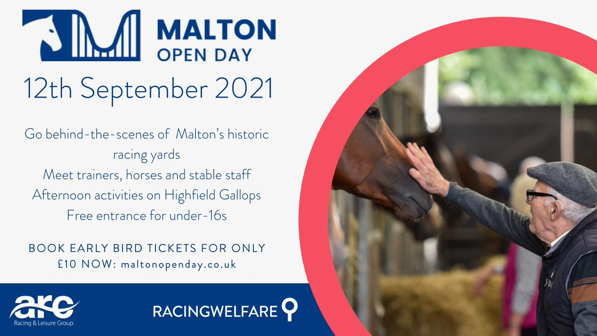 Come & join us at #MaltonOpenDay on 12th September!  See behind the scenes of some of Yorkshire's top trainers & enjoy an afternoon of family fun.  Book early bird tickets at: https://t.co/AUQkWcYIIr  @arenaracingco @opearsracing @JCamachoRacing @MickEasterby @RichardFahey