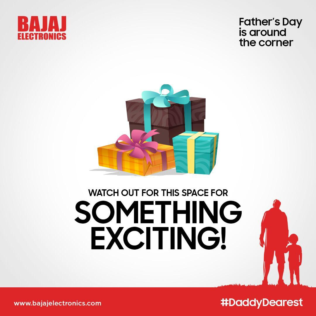 We're happy to share some exciting news with you. Stay tuned with Bajaj Electronics for more updates. #DaddyDearest  #bajajelectronics #electronics #electronicsmart #electronicsstore #electronicsshopping #electronicslovers #fathersdaygifts #fathersday #staytuned #hyderabad https://t.co/lagtBUbFzd