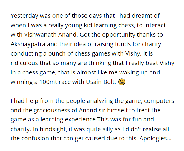 It is ridiculous that so many are thinking that I really beat Vishy sir in a chess game, that is almost like me waking up and winning a 100mt race with Usain Bolt. 😬 https://t.co/UoazhNiAZV