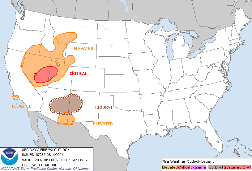 Image posted in Tweet made by NWS Salt Lake City on June 14, 2021, 2:07 pm UTC