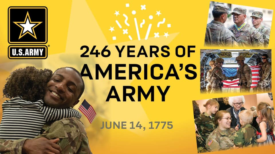 Since 1775, the @USArmy has supported our nation in peace time and times of war. Today, we celebrate the #USArmy's 246th birthday by honoring the courage of the American Soldier. https://t.co/P2gTVK9M1s