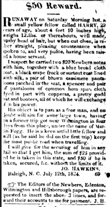 I tried to escape Joseph Hawkins a few times. The first time I nearly made it to Wilmington; in July 1824 I tried again but failed. When I ran in October 1825, I evaded capture until summer 1826.  Hawkins died in 1828 and I was willed to his daughter Mary. I was called HARRY. https://t.co/Xm0F6X8ftE