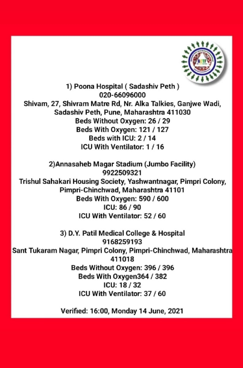 Pune Covid Resources #Covidsos #covidupdate #CovidResources #pune #punecovid #BedsAvailability #IcuBeds #verified https://t.co/UpR7nQ2h5M