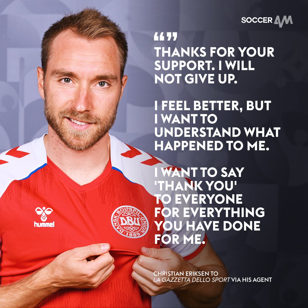 A message from Christian Eriksen ❤️❤️❤️ https://t.co/IbHu1gTiJM
