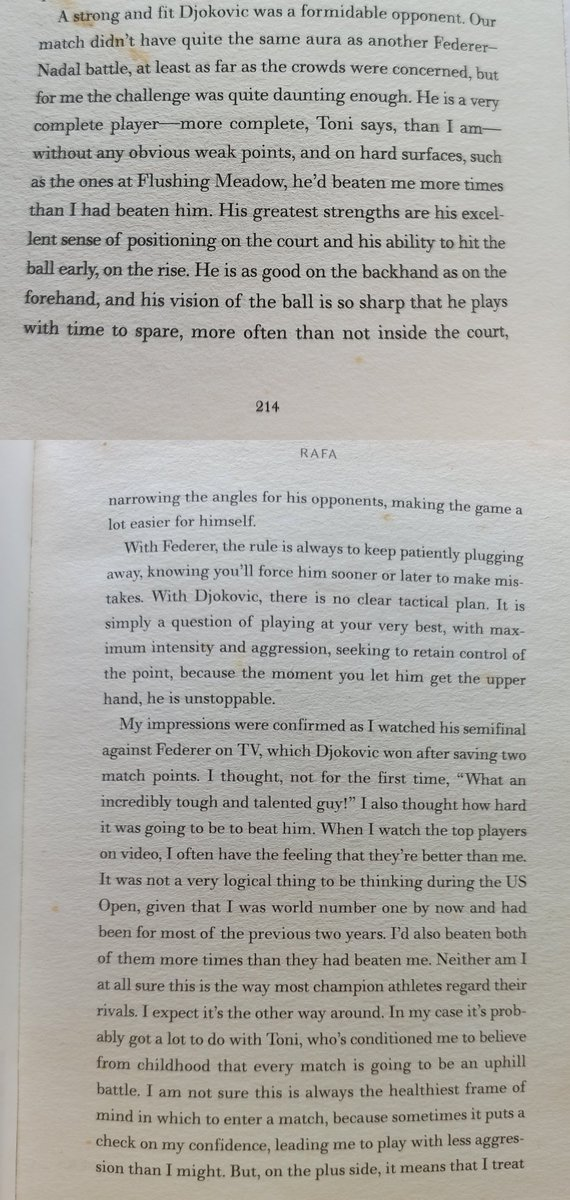 Couldn't resist returning to a very intriguing extract from Nadal's 2011 autobiography: Rafa 'My Story, where the Spaniard shares his views on Djokovic https://t.co/sCj59MCP3I