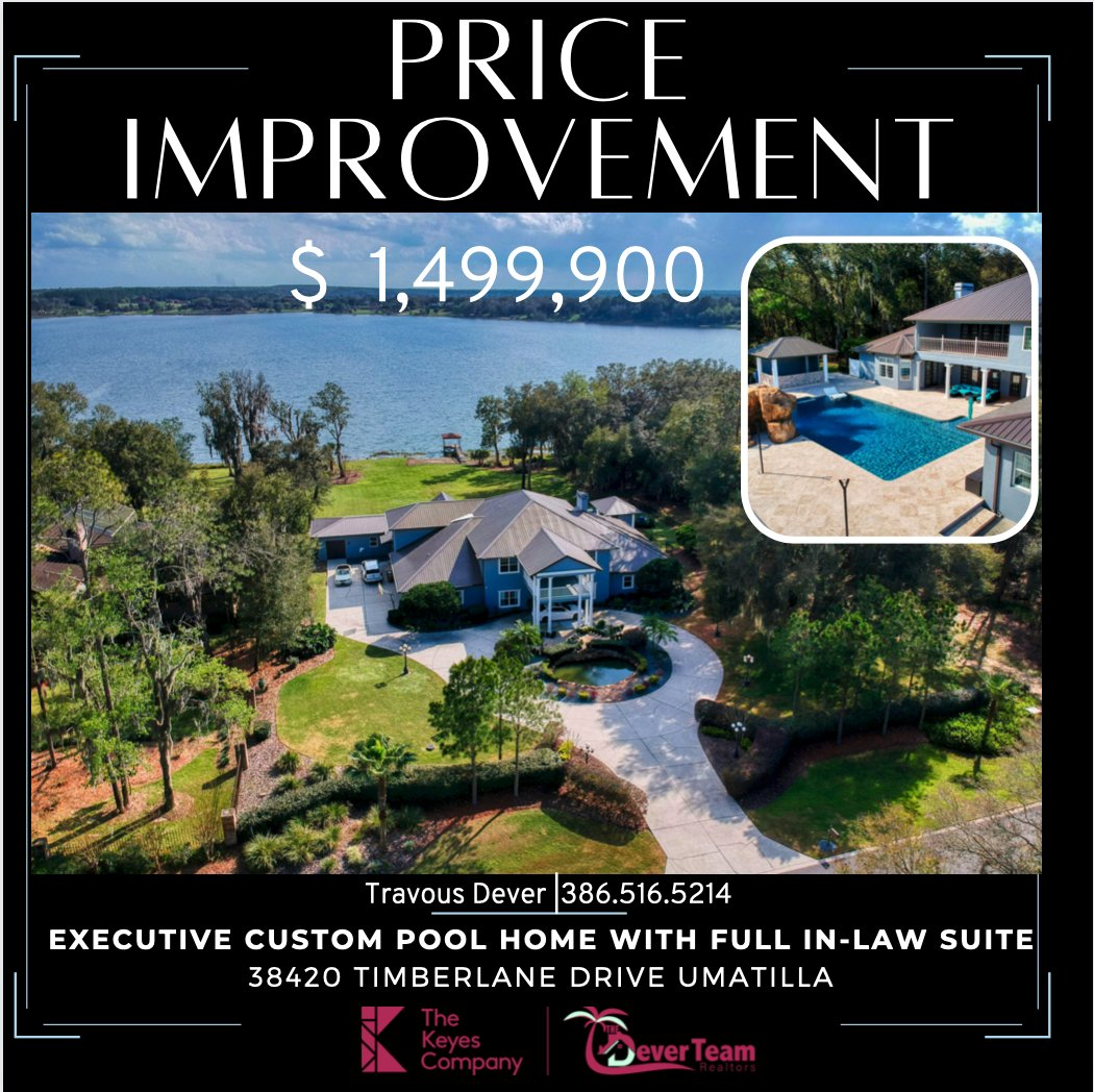 PRICE IMPROVEMENT on this Luxury resort-style custom pool home with full in-law suite, sitting atop 2.8 acres. Click here https://t.co/u3Nl0WUfnD or call Travous dever to schedule a tour.  #thedeverteam #poolhome #waterfronthome #floridaluxuryhomes #luxuryrealestate https://t.co/s2zYnmlxuZ