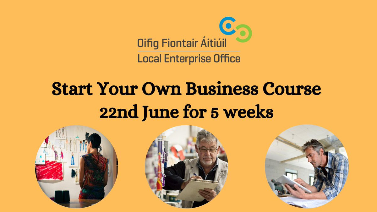 Start Your Own Business Course commencing 22nd June for 5 weeks over 10 dates. This programme is to provide participants with the skills to assess the viability of their business idea & to understand what is involved in running a business. Info and book https://t.co/TzNvcy7c0f https://t.co/0ckoPzmZ1D