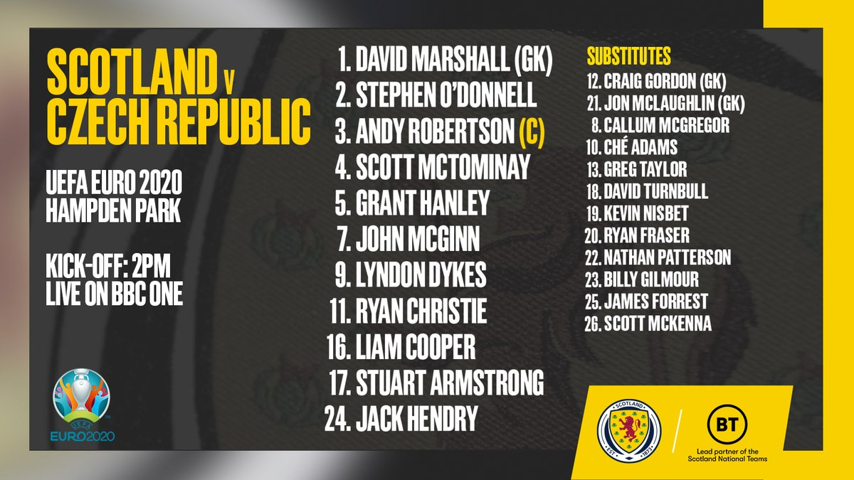 Your Scotland team taking on Czech Republic in our #EURO2020 opener.  COME ON SCOTLAND!  #SCO https://t.co/UU6NjNRL1M