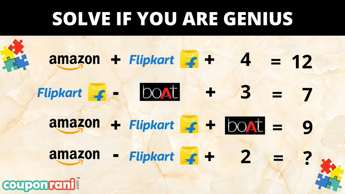Its fun time😀  Are you smart enough to solve this interesting puzzle? Solve this math puzzle & retweet so that your friends may also enjoy it.  Comment your answer below. Let's see how many of you can answer it correctly.  #ContestAlert #contestalertindia #puzzlegame #puzzle https://t.co/gFSQFTAruB