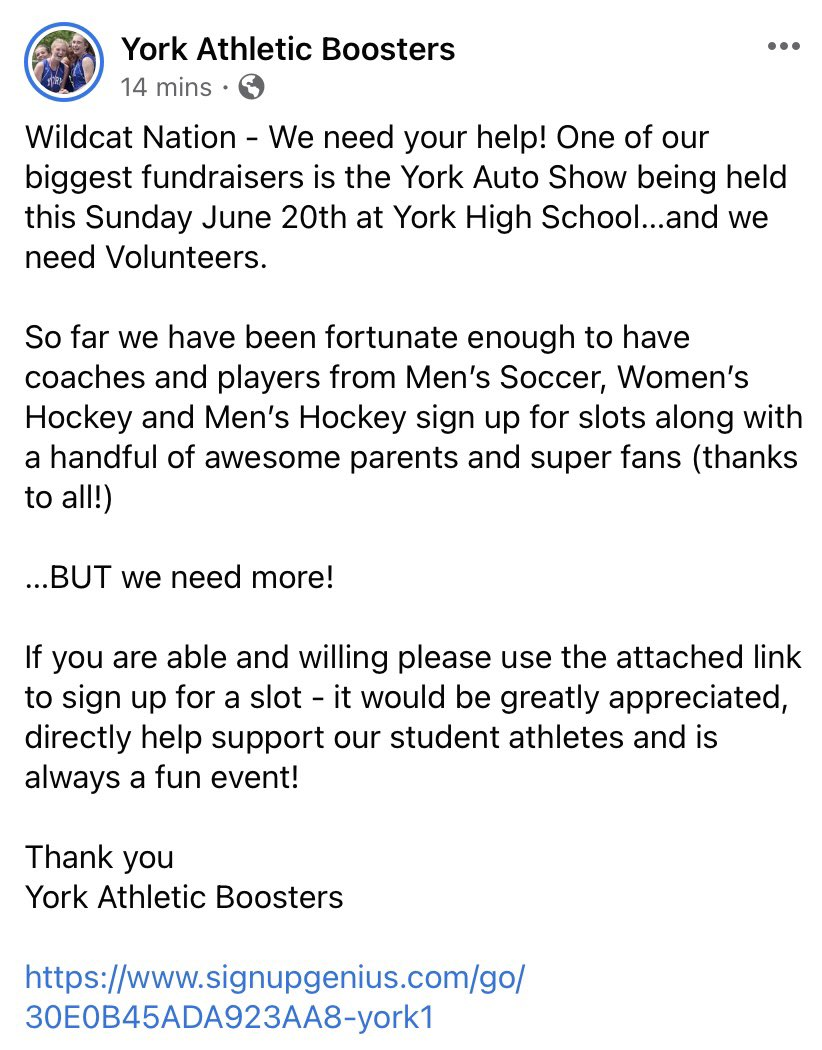 test Twitter Media - Wildcat Nation - We need your help! Please see below and sign up link! Let's Go! @YHSWildcats @YorkHSPrincipal   https://t.co/Sa3hvOmuWN https://t.co/PAgKTZf24X