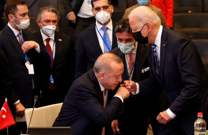 Biden gives awkward fist-bump to Turkeys Erdogan at NATO summit Photo