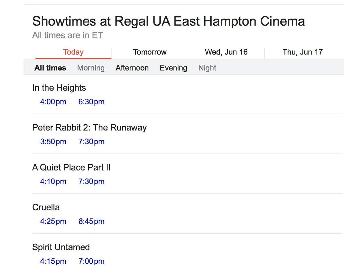 Monday at the movies --> https://t.co/yyiejDbRgF.  #hamptons #movietimes #easthampton #amagansett #montauk #movies #intheheights #peterrabbit2 #aquietplacepartII #cruella #spirituntamed #datenight https://t.co/rLuYB7x8BR