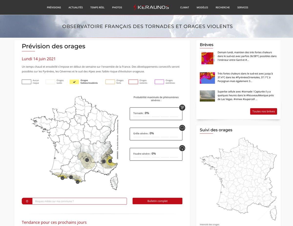 Le nouveau site web de #Keraunos est en ligne ! Découvrez une multitude de nouveautés en prévision des #orages, actus, suivi temps réel, données climatologiques,... le tout, avec une ergonomie repensée !