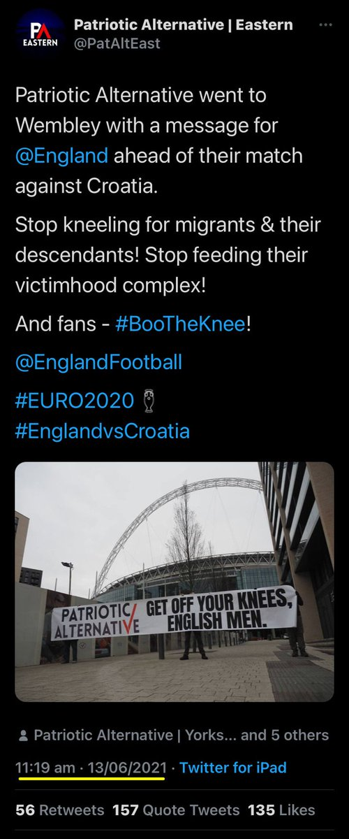 Sad Sacks 'Patriotic Alternative' @PatAltEast #Facepalm #Fail ...  Claimed they made a special trip to Wembley #ENGCRO on Saturday to 'raise a banner'.  Just reposted the same image from March's #ENGPOL ...  Apparently, they only support players who are 'Ethnically English'. https://t.co/1IQsMf1OeN