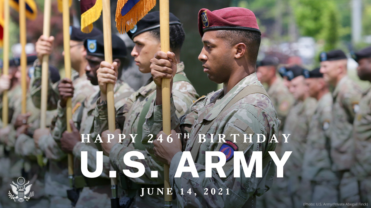 Dear @USArmy,   No matter the challenge, whether a foreign threat, natural or man-made disaster, or health crisis; time and time again, your brave soldiers have proven they will respond and support.   On your 246th #ArmyBday, we salute you!   Signed, a grateful nation. https://t.co/u9nP7nz6TA