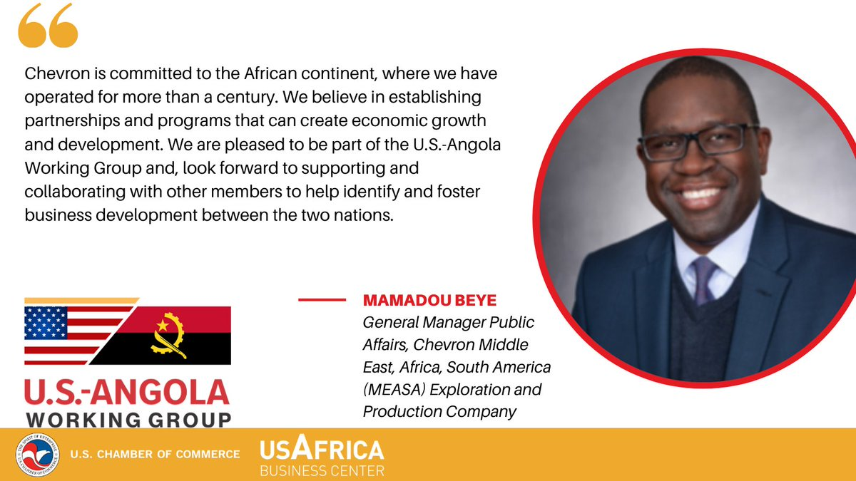 test Twitter Media - On behalf of the @USChamberAfrica, we are pleased to introduce Mamadou Beye, General Manager Public Affairs, Chevron Middle East, Africa, South America (MEASA) Exploration and Production Company, as the new chair for the U.S.-Angola Working Group. https://t.co/JrDXQN3Ceg