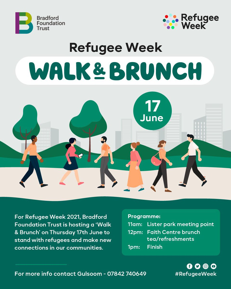 RT @BradfordFounda1: Following on from our #Ramadanchallenge super excited to launch our walk and brunch this week to celebrate #RefugeeWeek #20MinsMovement encouraging refugees to stay active and make new friends. Contact Gulsoom for more info.