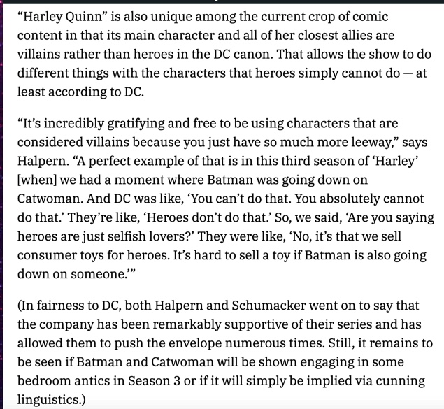 """DC asked the #HarleyQuinn team to remove a scene from Season 3 in which Batman performs oral sex on Catwoman. Why? """"Heroes don't do that""""  @justin_halpern @PMSchumacker   https://t.co/BSpuc1rjKE https://t.co/jMOC2J6H22"""