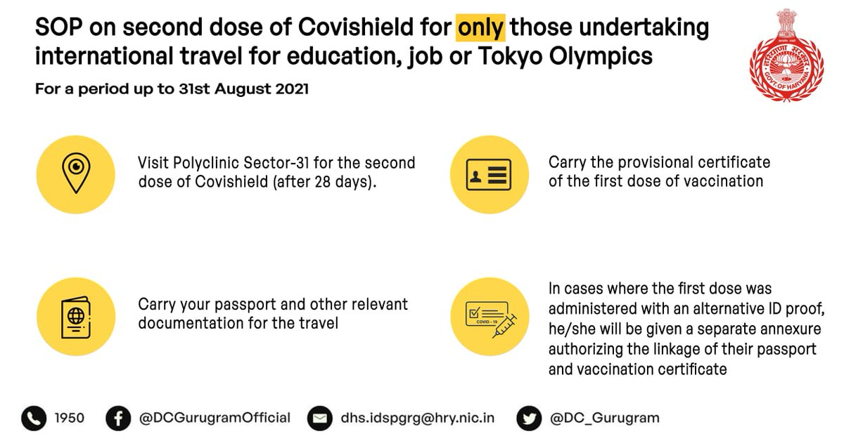 Students and citizens undertaking international travel for education, job or Tokyo olympics, up to 31st August 2021 can now head to Polyclinic Sector-31 Gurugram, for their second dose (after 28 days only) of Covishield from tomorrow. https://t.co/21yKT9fU01