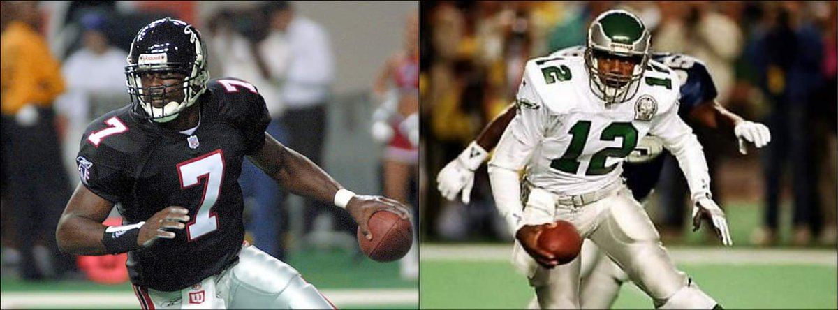 In today's NFL which QB would you build your franchise around? #MichaelVick #RandallCunningham. #NFL https://t.co/wUb5ACcsOB