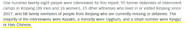 """Interestingly, most of the interviewees were not Uyghurs, but Kazakhs. This could explain why they couldn't use """"Uyghur genocide"""" in their title, because the evidence was so thin. The interviewee's details were not disclosed, so it's impossible to determine their reliability. https://t.co/DIH8qQhXtL"""