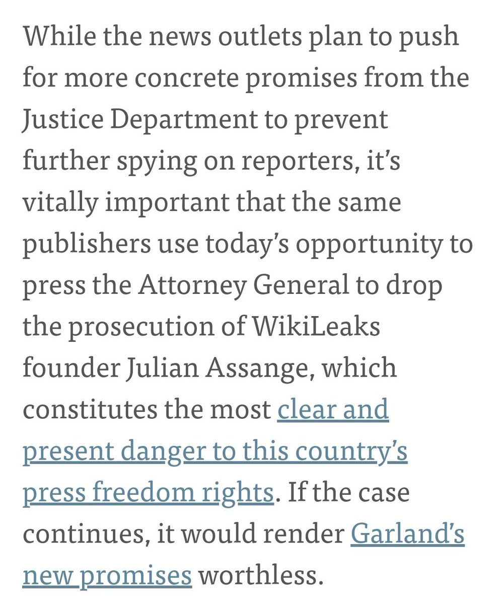 """.@FreedomofPress to NYT, WaPo, CNN: Urge #Garland to drop #Assange case today.   """"If the Assange case continues,  it would render Garland's new promises worthless.""""  By @xor  https://t.co/17yaFEORgP https://t.co/8RZYMSuwH6"""