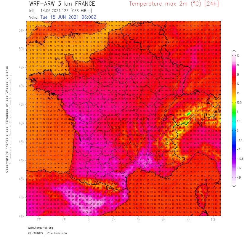 38,2°C relevés au Boulou dans les #PyrénéesOrientales ce lundi. 37 à 38°C de Béziers à Nîmes ou Perpignan. Demain, fortes chaleurs persistantes avec 33 à 35°C possibles dans l'ouest, 37°C dans le sud-est.