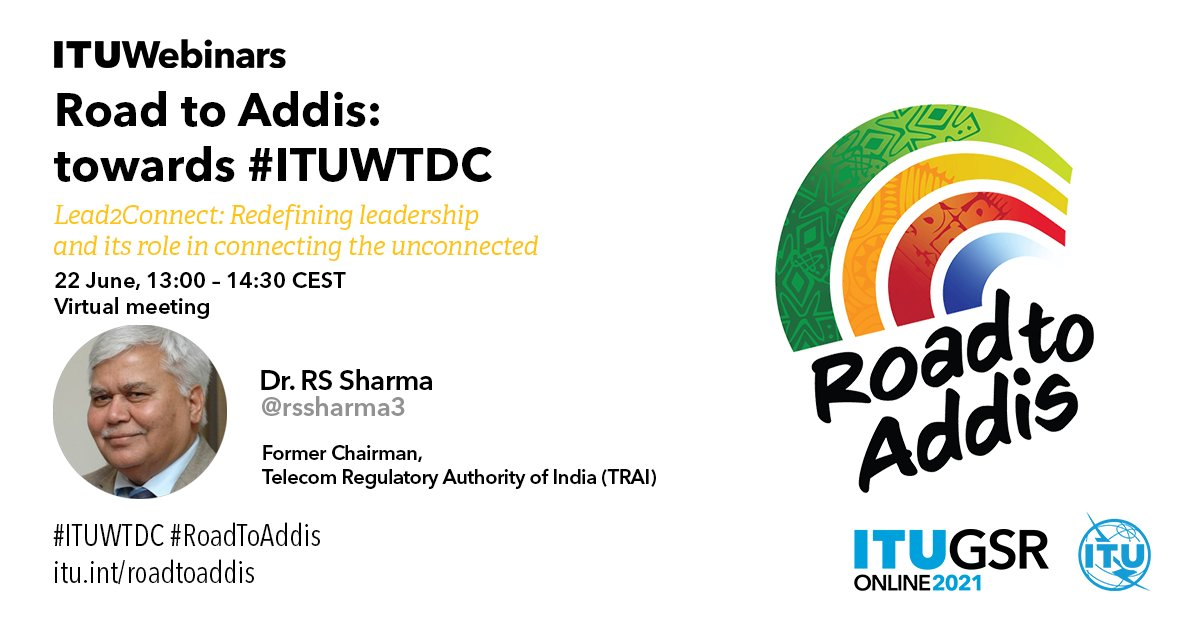 What kind of #leadership do we need to create more inclusive, connected societies👩💻 & #LeaveNoOneBehind?  @rssharma3 & other renowned experts will share their thoughts on how to ✨#LeadToConnect on our next stop on the #RoadToAddis:  Register here➡️https://t.co/ap3hYGRgr7 https://t.co/IiakxhmcUL