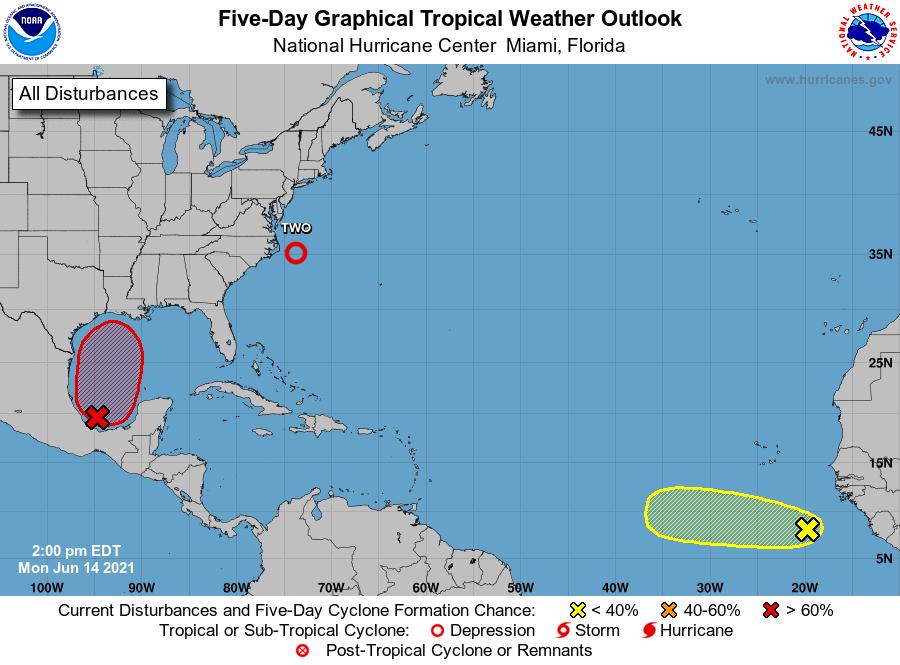 L'Atlantique s'agite avec une dépression tropicale au large de la Caroline du Nord et deux autres systèmes suivis par le @NHC_Atlantic. La saison est prévu plus active que la normale.