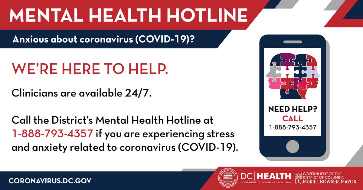 To access any youth or adult mental health services you can call the @DBHRecoversDC Access Help-Line at 1-888-7-WE-HELP (1-888-793-4357) or click here for more information.