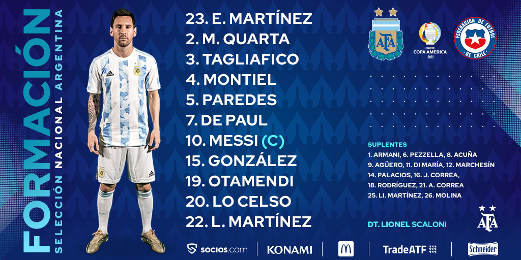 🇦🇷 @emimartinezz1 starts for Argentina as they open their #CopaAmérica Group A campaign against Chile 👊