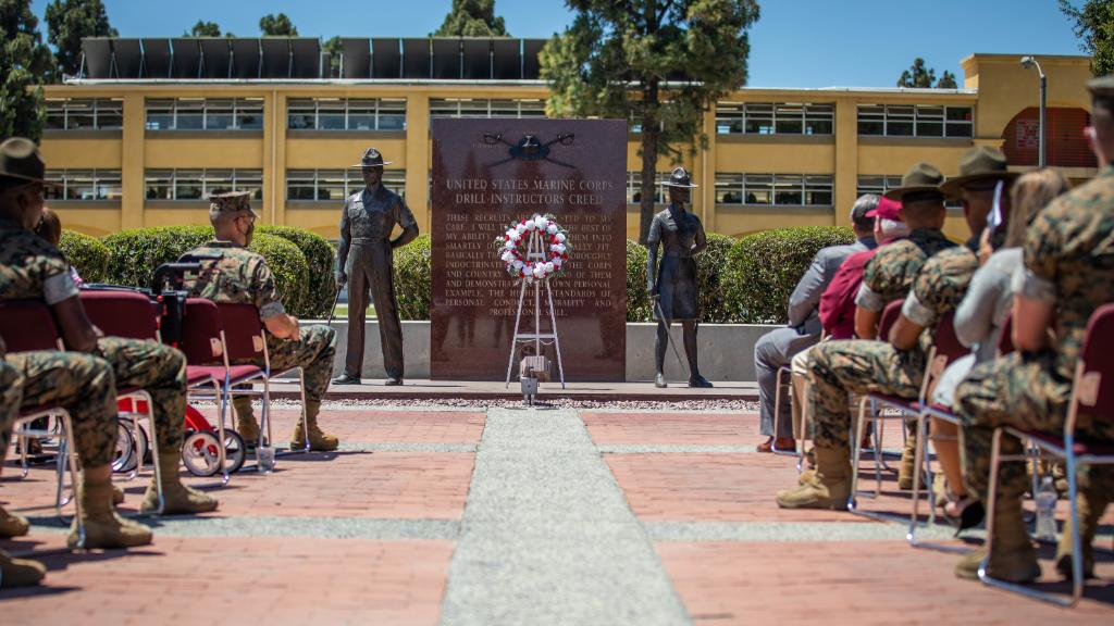 """Last Friday, a crowd of active and retired #Marines came together to rededicate the Drill Instructor Monument at @MCRD_SD.  """"This helps us keep a connection with the lineage of drill instructor's we have here,"""" said Recruit Training Regiment Sergeant Major, Paul F. Agan. https://t.co/eKsalmVKsI"""