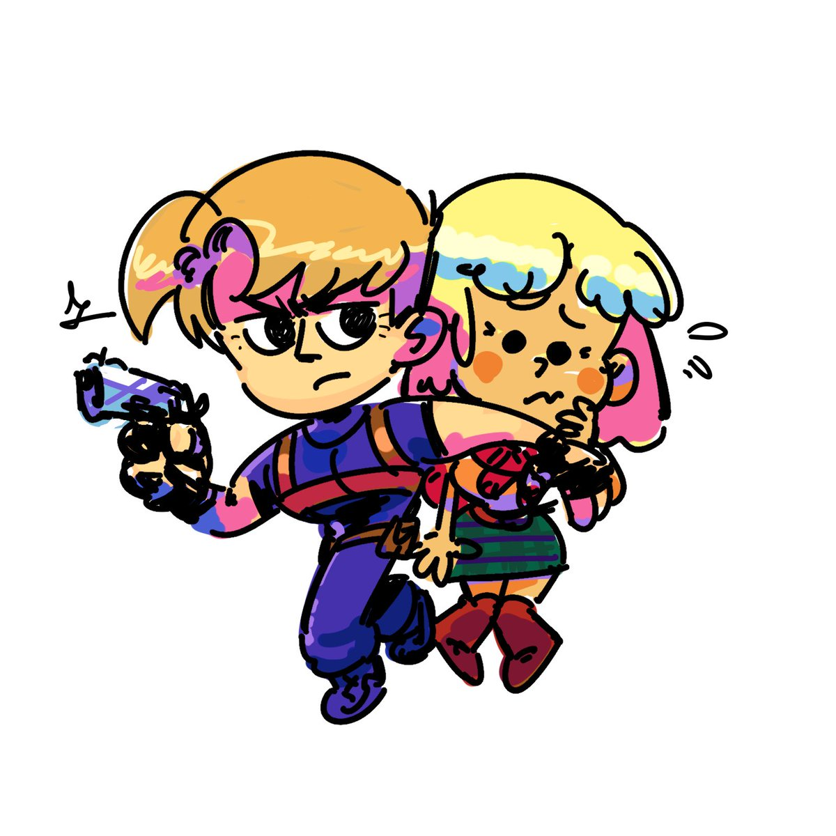 RT @cigardoesart: RE4 leon and ashley doodle https://t.co/V0pcqBo531