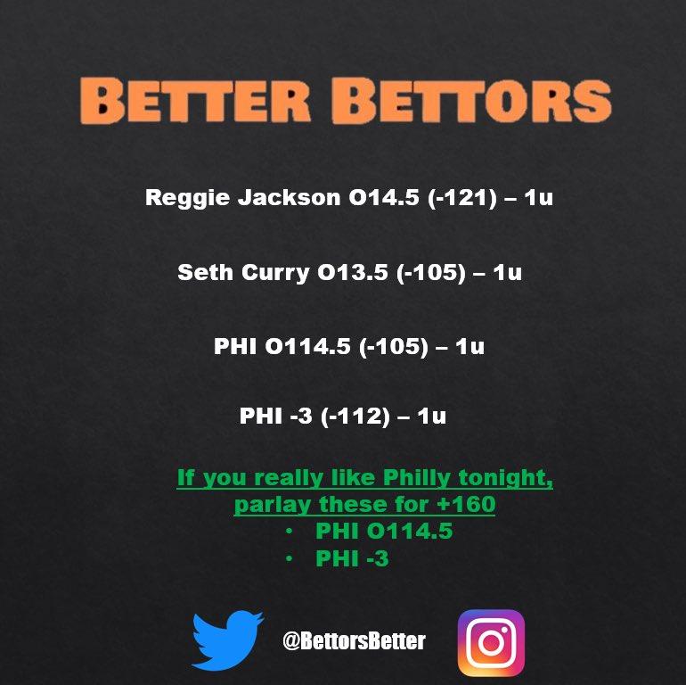 NBA playoff bets for tonight! Don't think Atlanta can hang with Philly. BOL everyone 🤞 #nbaplayoffs #freesportsbets #nbabets #dailysportsbets #parlay #fanduel #sportsgambling #propbet #76ers #reggiejackson #sethcurry #bettingtips #nbapicks #handicapper #barstoolsports #nba https://t.co/ReWwjoFw13