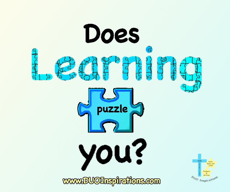 Does learning puzzle you?  Let DUO Inspirations clear things up for you.  DM me.  #education #resource #learninghelp #tutoring #coaching #learn #succeed #overcome #Parents #parenting #learning #motivation #encouragement #skills #skillbuilding https://t.co/7XlkmVrFF0