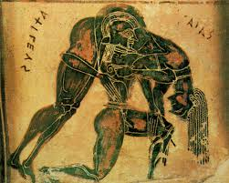 """Odesyus vs. Ajax 1260 BC """"""""They came to grips, clasping each other in their mighty arms, locked together … Their backs creaked under the pressure, many a blood-red weal appeared"""""""" Homer The Iliad  The Wrestler's Dissertation #wrestling #Martialarts #MMA https://t.co/AXoyTfnwkg https://t.co/n1RS8zv8EQ"""