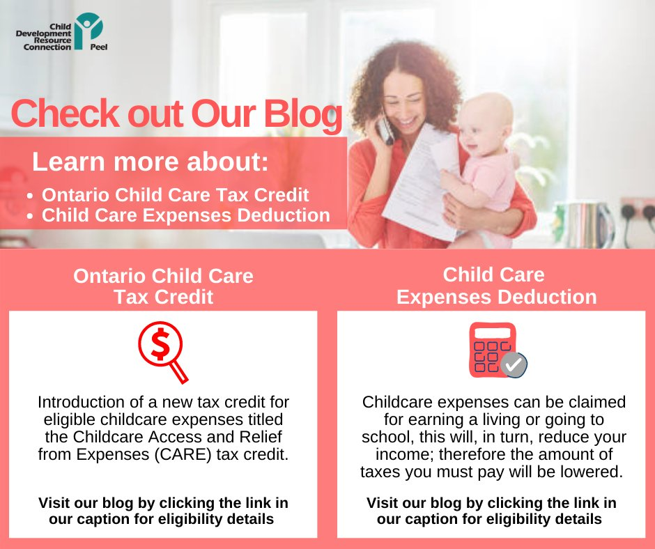 New #BLOG: #Learn more about the Ontario Child Care Tax Credit and Child Care Expense Deduction by visiting the link in our caption: https://t.co/TILyvZyyXU  #childcare #taxcredit #tax #expenses #information #credit #families #parents #children #eligibility #services #community https://t.co/scS2U8qps5