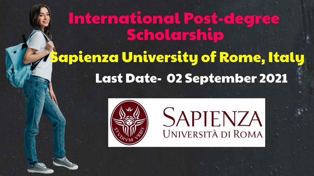 International Post-degree Scholarship by Sapienza University of Rome, Italy