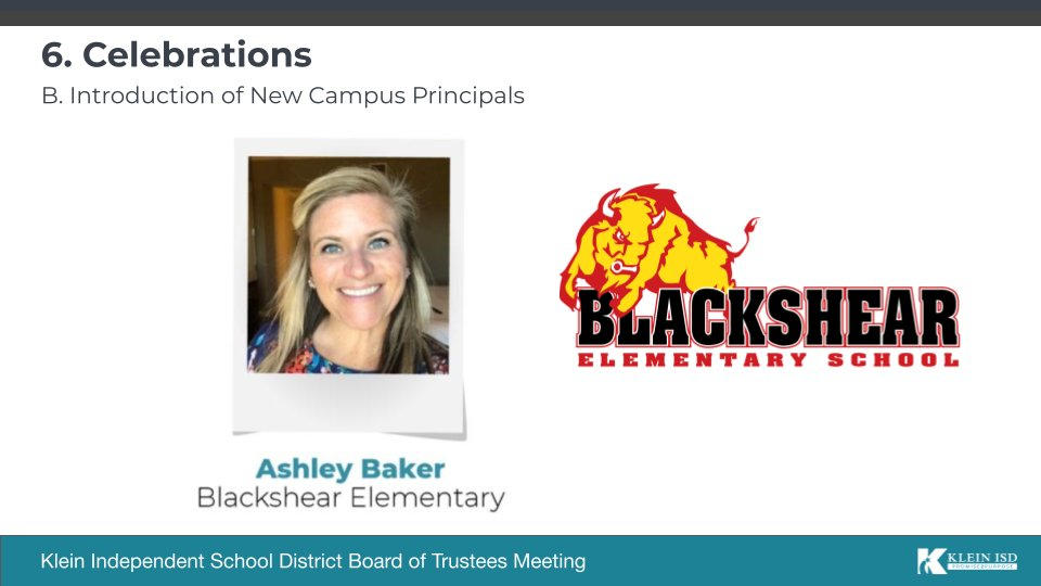 Next, the #KleinISDBoard would like to introduce new @BlackshearKISD Principal @Baker_READ! Mrs. Baker has served as Dean of Instruction, AP & was even the 2017 Secondary Teacher of the Year here in Klein ISD! We know you will do great things as a Buffalo! #KleinFamily https://t.co/o2PDKVzxZI