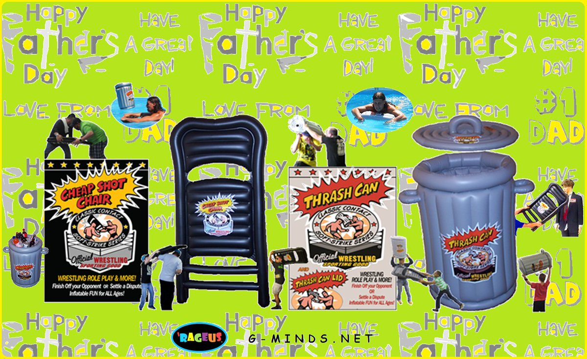 Showin' #Dad that you #Care, give him a #Whack with #ThrashCan & #CheapShotChair!    ---> https://t.co/PnEPkVNjev  #SummerFun + RAGEUS™ & More #UniqueGifts  #HappyFathersDay  #WWE #UFC #AEW #BELLATOR #IMPACT #Wrestling #LuchaLibre #ROH #NWA #MMA #ManCave #PoolToys #Summer #Party https://t.co/NpoR22oUnb